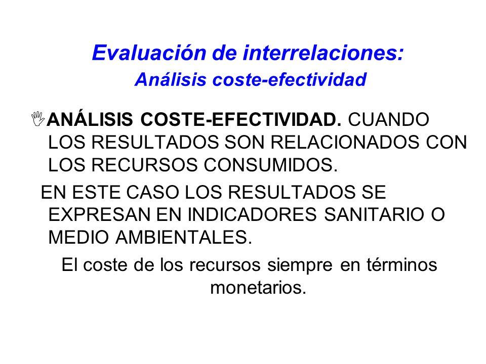 Evaluación de interrelaciones: Análisis coste-efectividad ANÁLISIS COSTE-EFECTIVIDAD. CUANDO LOS RESULTADOS SON RELACIONADOS CON LOS RECURSOS CONSUMID