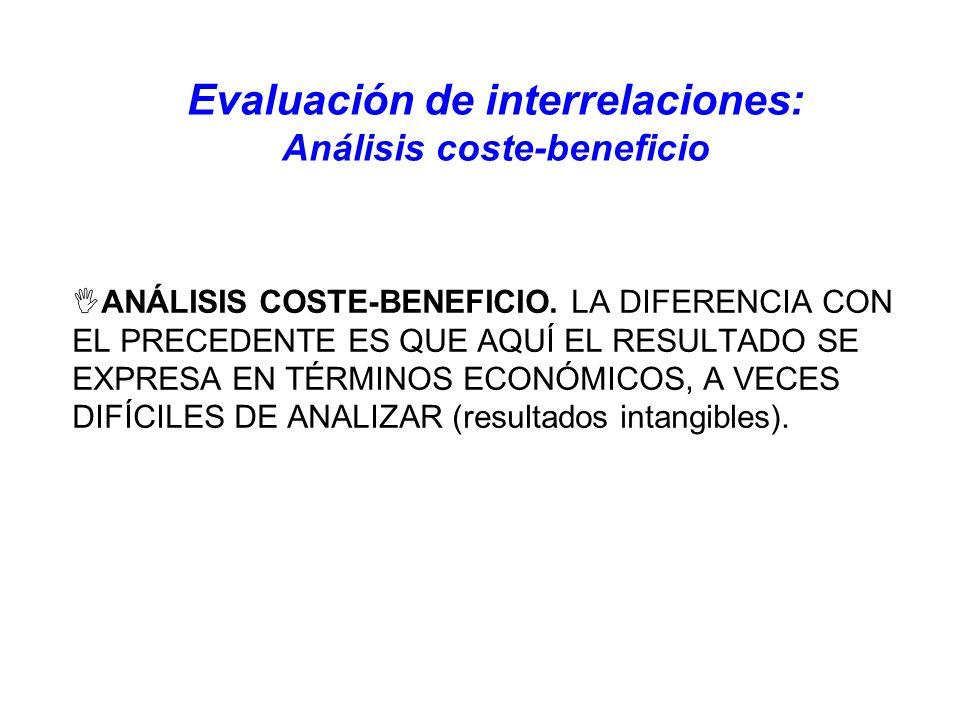 Evaluación de interrelaciones: Análisis coste-beneficio ANÁLISIS COSTE-BENEFICIO. LA DIFERENCIA CON EL PRECEDENTE ES QUE AQUÍ EL RESULTADO SE EXPRESA