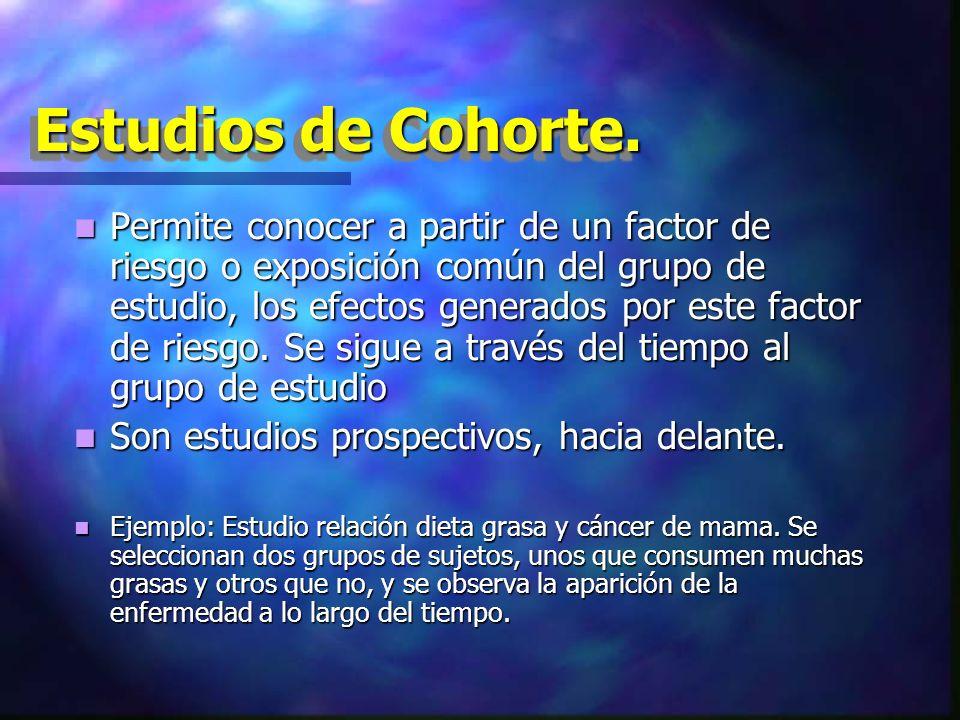 Estudios de Cohorte. Permite conocer a partir de un factor de riesgo o exposición común del grupo de estudio, los efectos generados por este factor de
