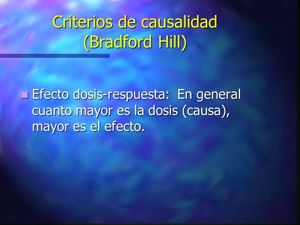 Criterios de causalidad (Bradford Hill) Efecto dosis-respuesta: En general cuanto mayor es la dosis (causa), mayor es el efecto. Efecto dosis-respuest