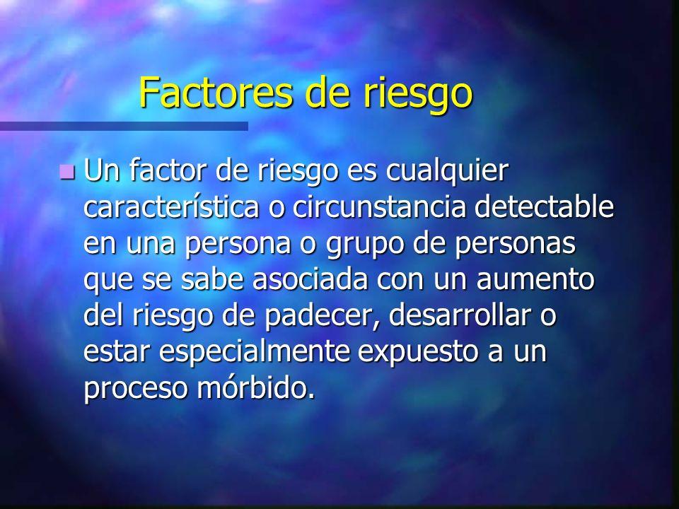Factores de riesgo Un factor de riesgo es cualquier característica o circunstancia detectable en una persona o grupo de personas que se sabe asociada