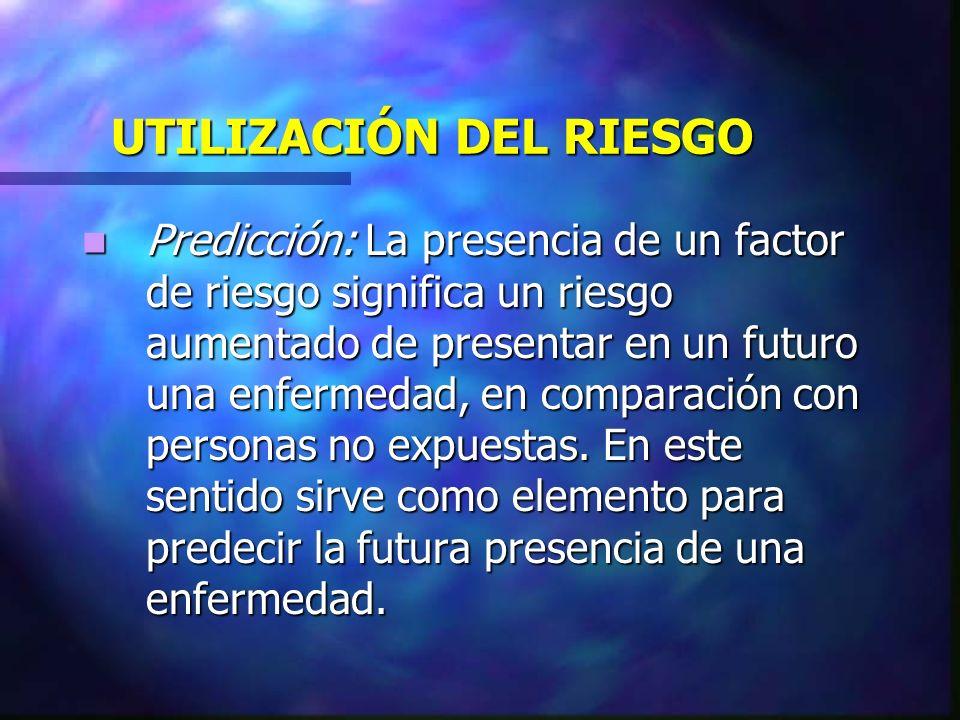 UTILIZACIÓN DEL RIESGO Predicción: La presencia de un factor de riesgo significa un riesgo aumentado de presentar en un futuro una enfermedad, en comp