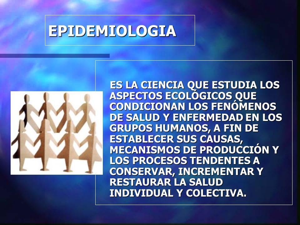 EPIDEMIOLOGIA ES LA CIENCIA QUE ESTUDIA LOS ASPECTOS ECOLÓGICOS QUE CONDICIONAN LOS FENÓMENOS DE SALUD Y ENFERMEDAD EN LOS GRUPOS HUMANOS, A FIN DE ES