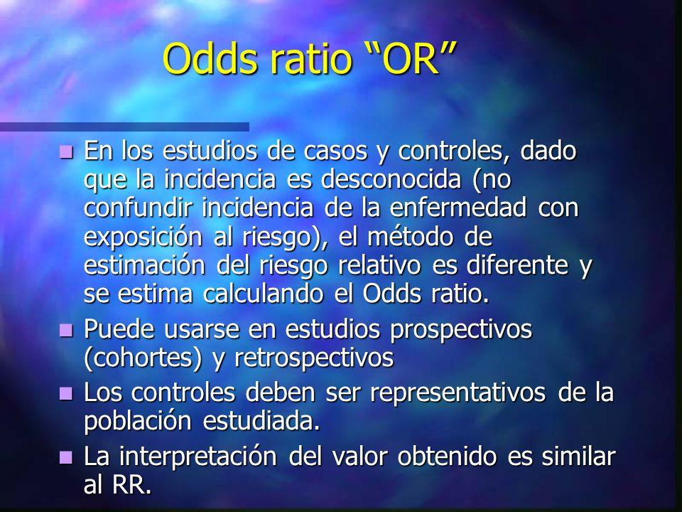 Odds ratio OR En los estudios de casos y controles, dado que la incidencia es desconocida (no confundir incidencia de la enfermedad con exposición al