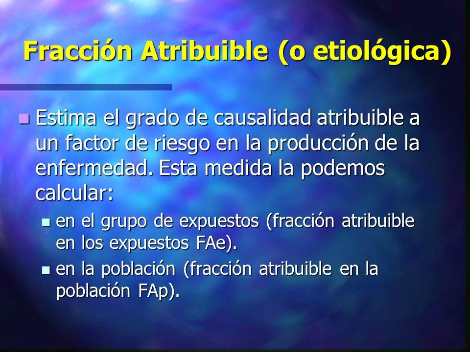 Fracción Atribuible (o etiológica) Estima el grado de causalidad atribuible a un factor de riesgo en la producción de la enfermedad. Esta medida la po