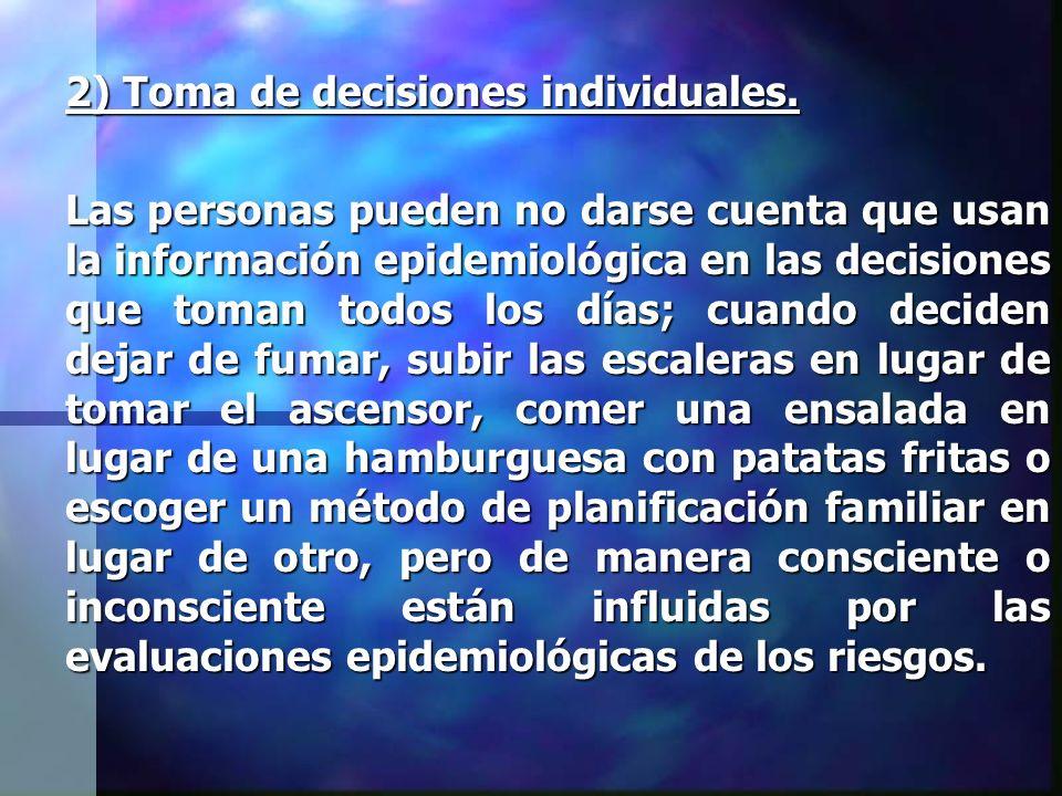2) Toma de decisiones individuales. Las personas pueden no darse cuenta que usan la información epidemiológica en las decisiones que toman todos los d
