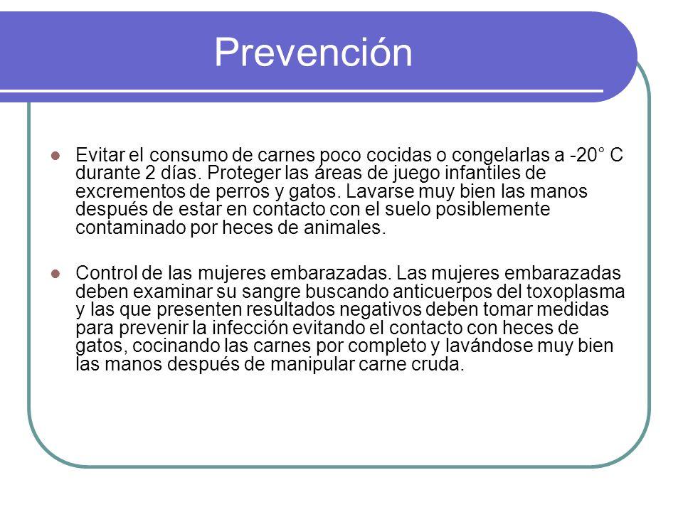 Prevención Evitar el consumo de carnes poco cocidas o congelarlas a -20° C durante 2 días. Proteger las áreas de juego infantiles de excrementos de pe