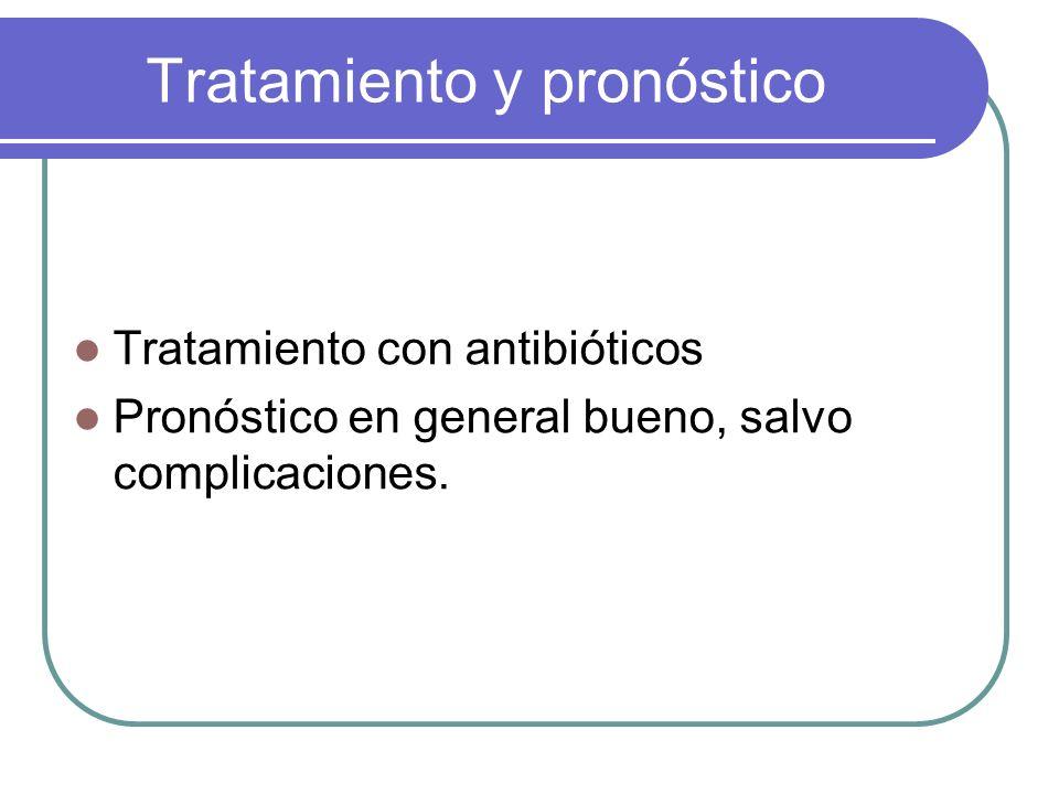 Tratamiento y pronóstico Tratamiento con antibióticos Pronóstico en general bueno, salvo complicaciones.