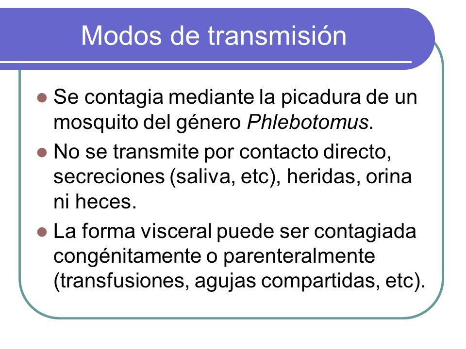 Modos de transmisión Se contagia mediante la picadura de un mosquito del género Phlebotomus. No se transmite por contacto directo, secreciones (saliva