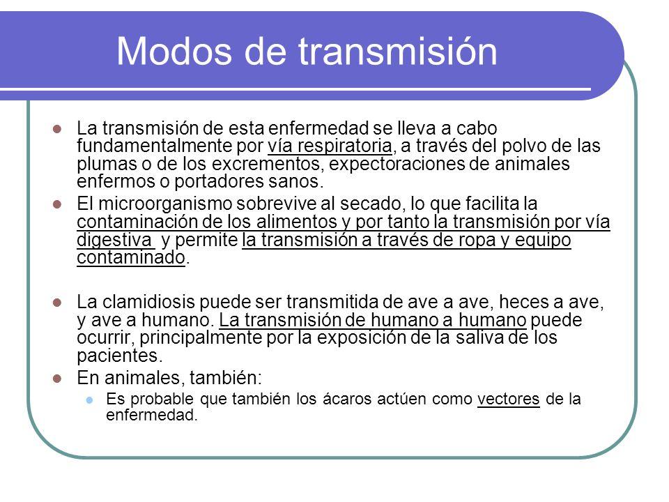 Modos de transmisión La transmisión de esta enfermedad se lleva a cabo fundamentalmente por vía respiratoria, a través del polvo de las plumas o de lo