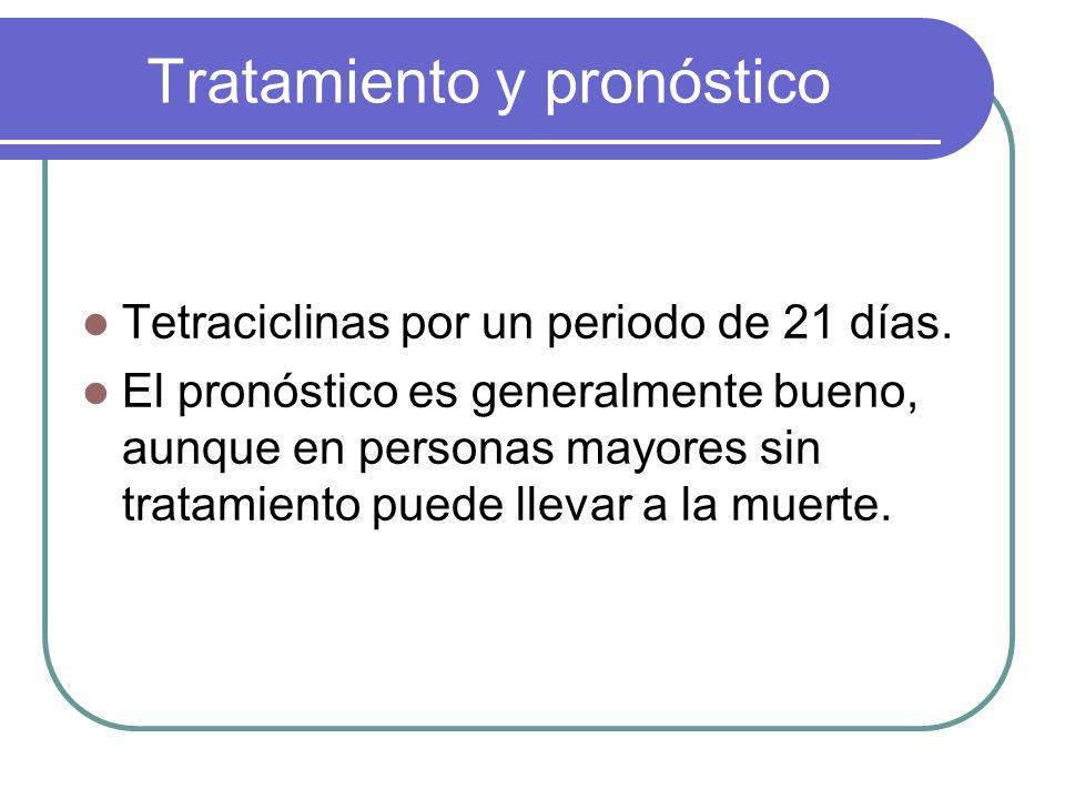 Tratamiento y pronóstico Tetraciclinas por un periodo de 21 días. El pronóstico es generalmente bueno, aunque en personas mayores sin tratamiento pued