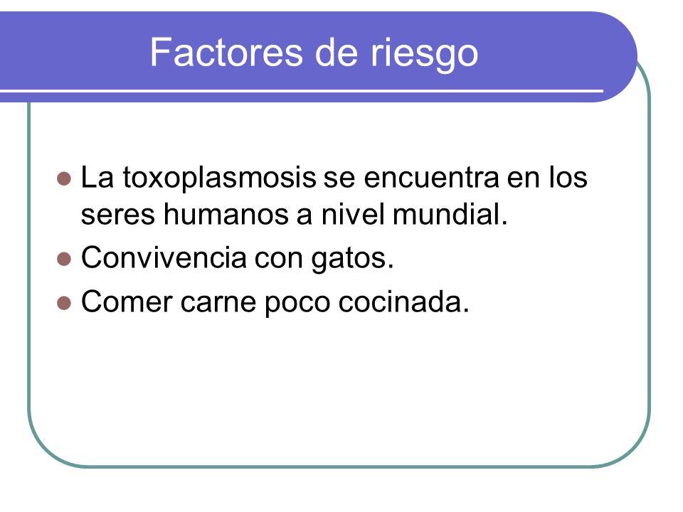 Factores de riesgo La toxoplasmosis se encuentra en los seres humanos a nivel mundial. Convivencia con gatos. Comer carne poco cocinada.