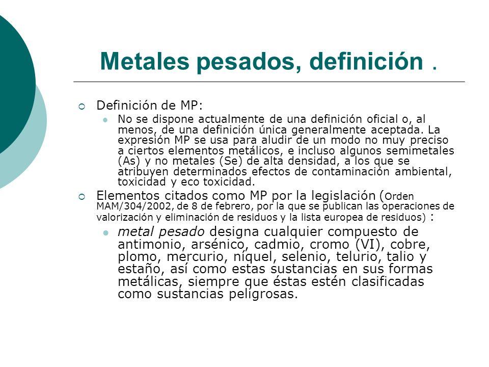 Metales pesados, definición. Definición de MP: No se dispone actualmente de una definición oficial o, al menos, de una definición única generalmente a