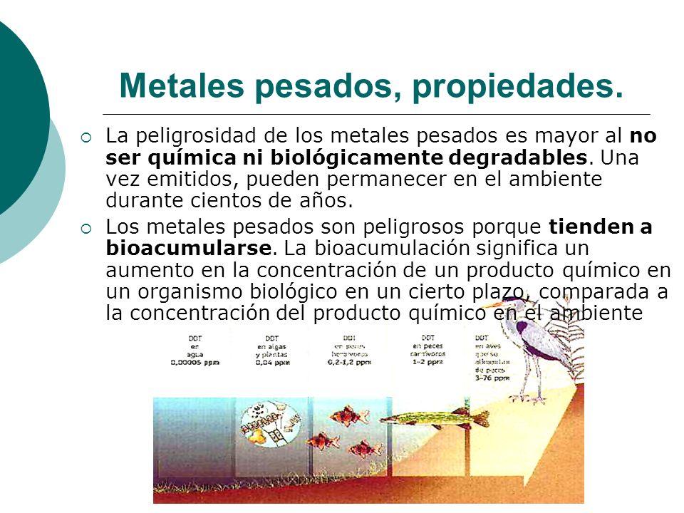 Metales pesados, propiedades. La peligrosidad de los metales pesados es mayor al no ser química ni biológicamente degradables. Una vez emitidos, puede