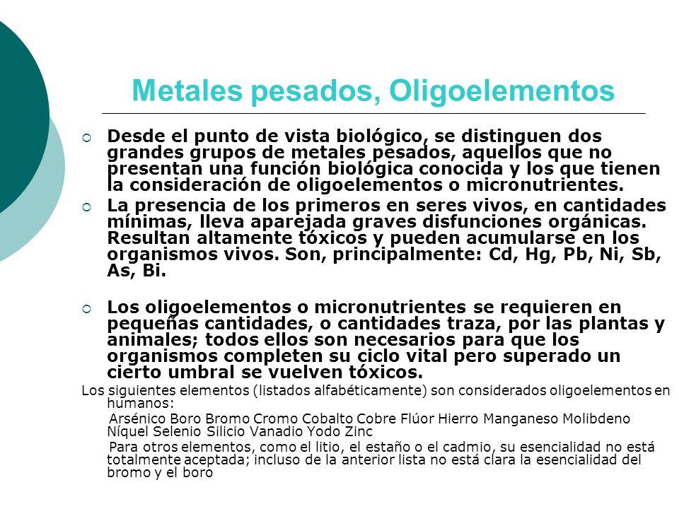 Metales pesados, Oligoelementos Desde el punto de vista biológico, se distinguen dos grandes grupos de metales pesados, aquellos que no presentan una