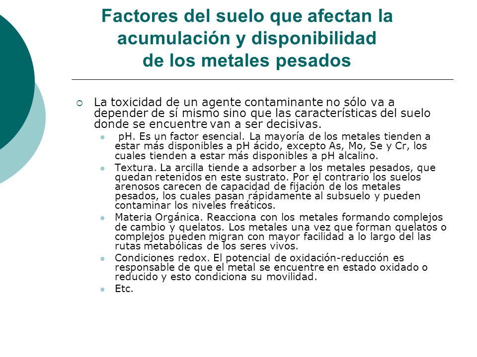 Factores del suelo que afectan la acumulación y disponibilidad de los metales pesados La toxicidad de un agente contaminante no sólo va a depender de