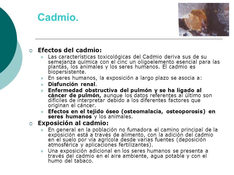 Cadmio. Efectos del cadmio: Las características toxicológicas del Cadmio deriva sus de su semejanza química con el cinc un oligoelemento esencial para