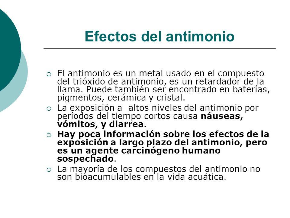 Efectos del antimonio El antimonio es un metal usado en el compuesto del trióxido de antimonio, es un retardador de la llama. Puede también ser encont