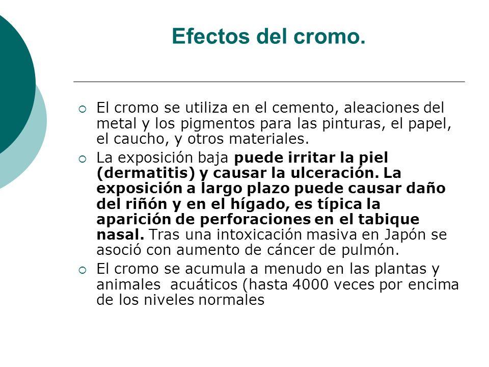 Efectos del cromo. El cromo se utiliza en el cemento, aleaciones del metal y los pigmentos para las pinturas, el papel, el caucho, y otros materiales.