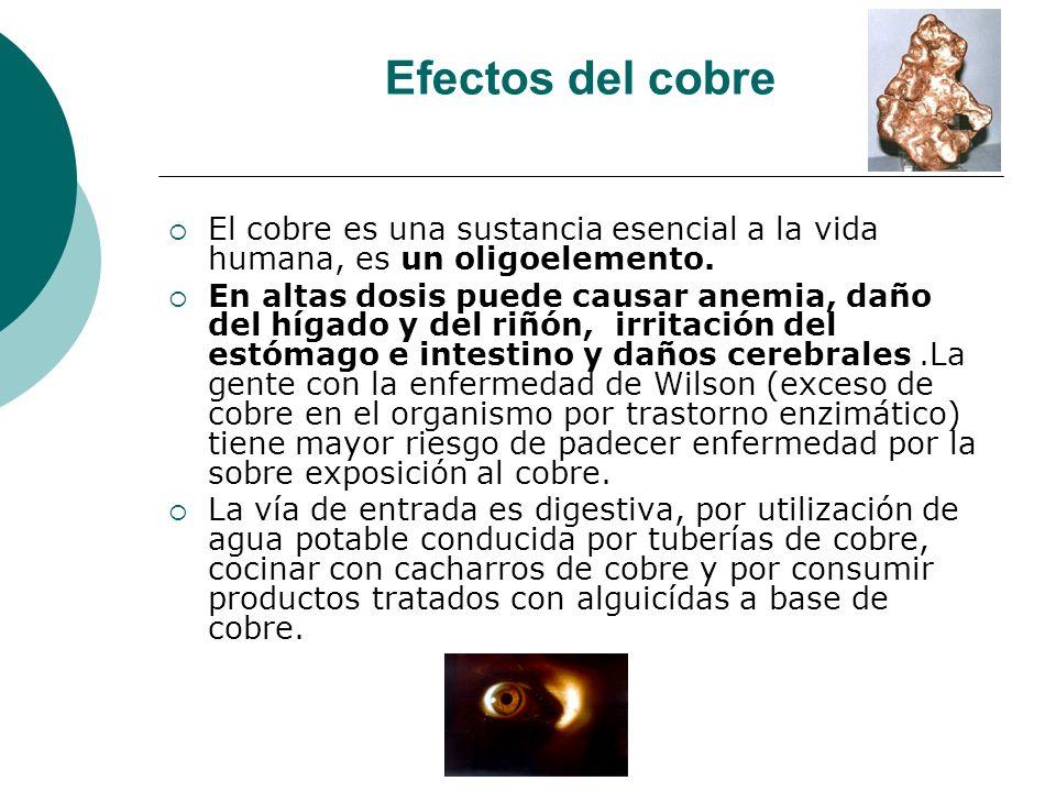 Efectos del cobre El cobre es una sustancia esencial a la vida humana, es un oligoelemento. En altas dosis puede causar anemia, daño del hígado y del
