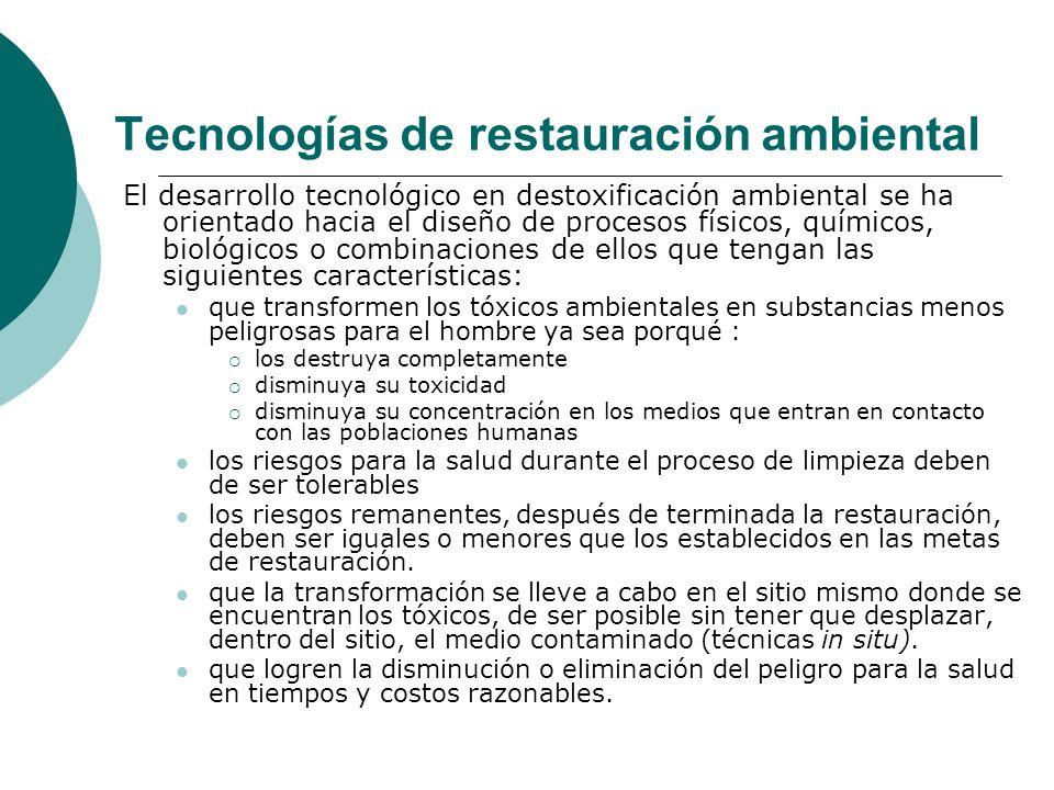 Tecnologías de restauración ambiental El desarrollo tecnológico en destoxificación ambiental se ha orientado hacia el diseño de procesos físicos, quím