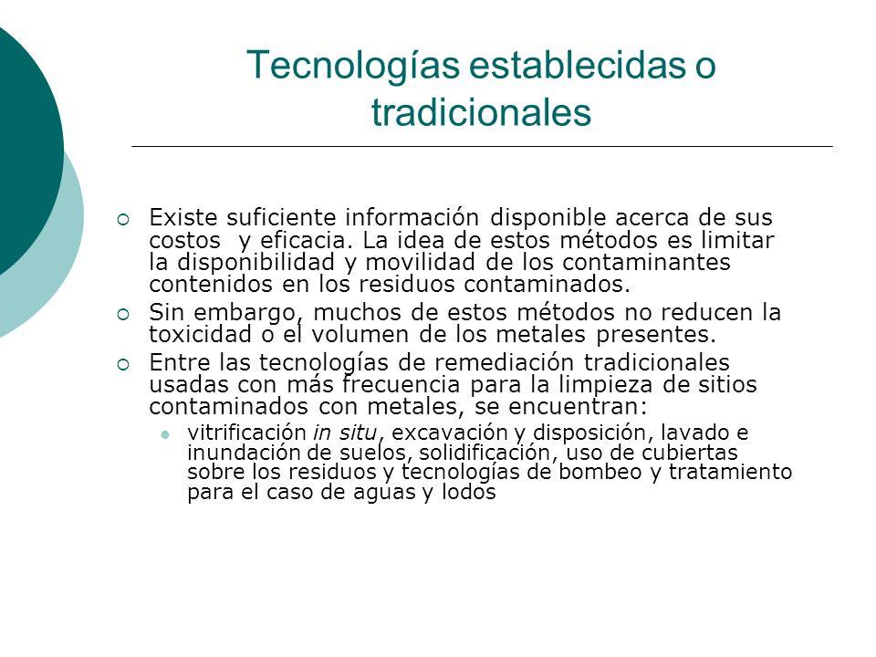 Tecnologías establecidas o tradicionales Existe suficiente información disponible acerca de sus costos y eficacia. La idea de estos métodos es limitar