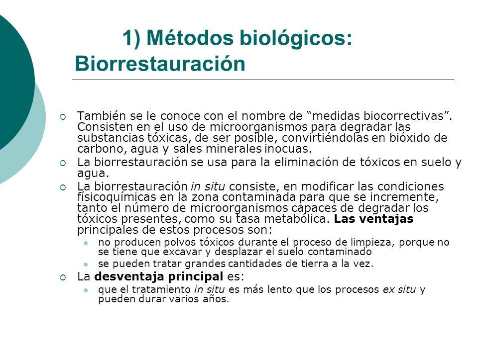 1) Métodos biológicos: Biorrestauración También se le conoce con el nombre de medidas biocorrectivas. Consisten en el uso de microorganismos para degr