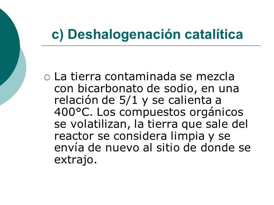 c) Deshalogenación catalítica La tierra contaminada se mezcla con bicarbonato de sodio, en una relación de 5/1 y se calienta a 400°C. Los compuestos o