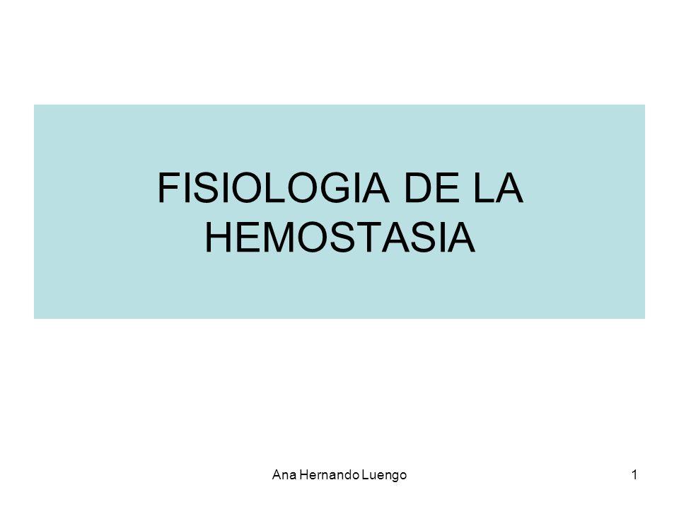 Ana Hernando Luengo1 FISIOLOGIA DE LA HEMOSTASIA