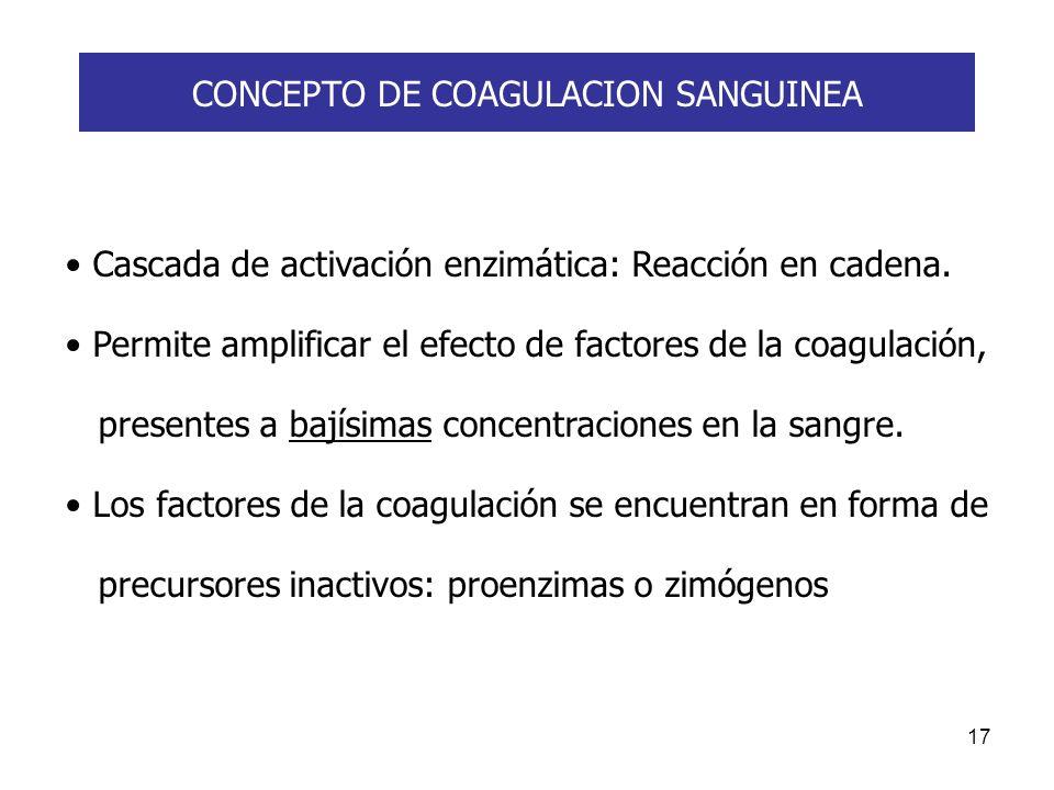 17 CONCEPTO DE COAGULACION SANGUINEA Cascada de activación enzimática: Reacción en cadena. Permite amplificar el efecto de factores de la coagulación,
