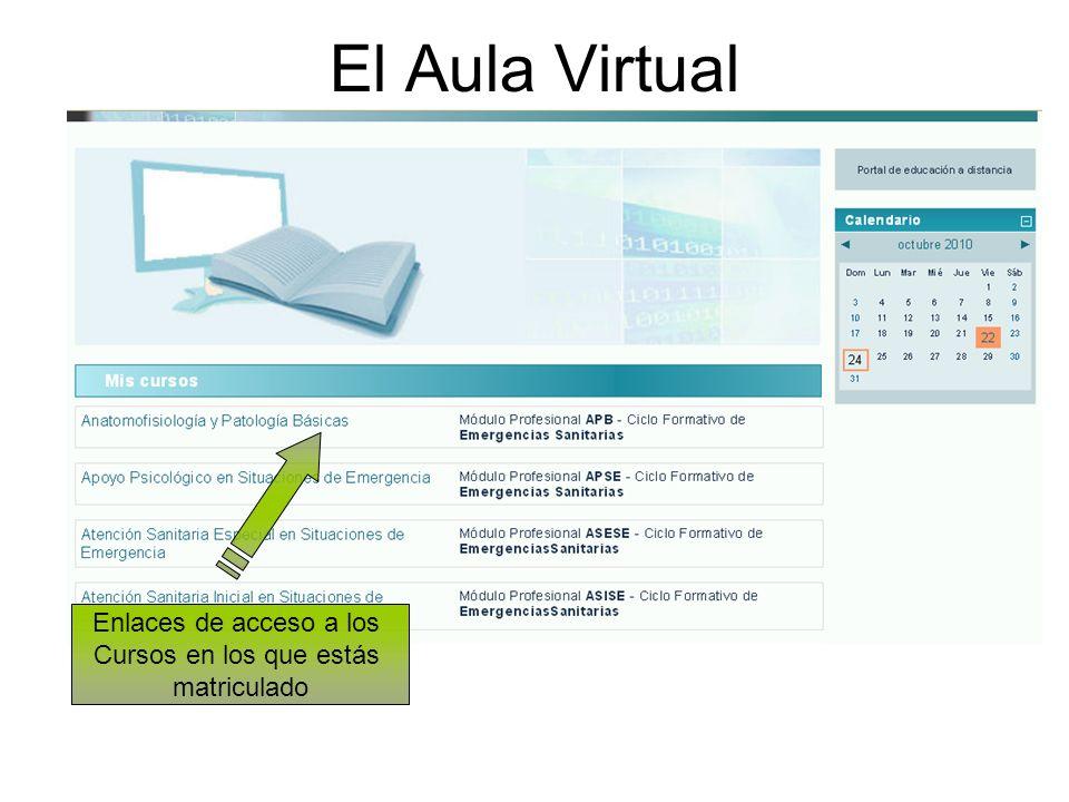 El Aula Virtual Enlaces de acceso a los Cursos en los que estás matriculado