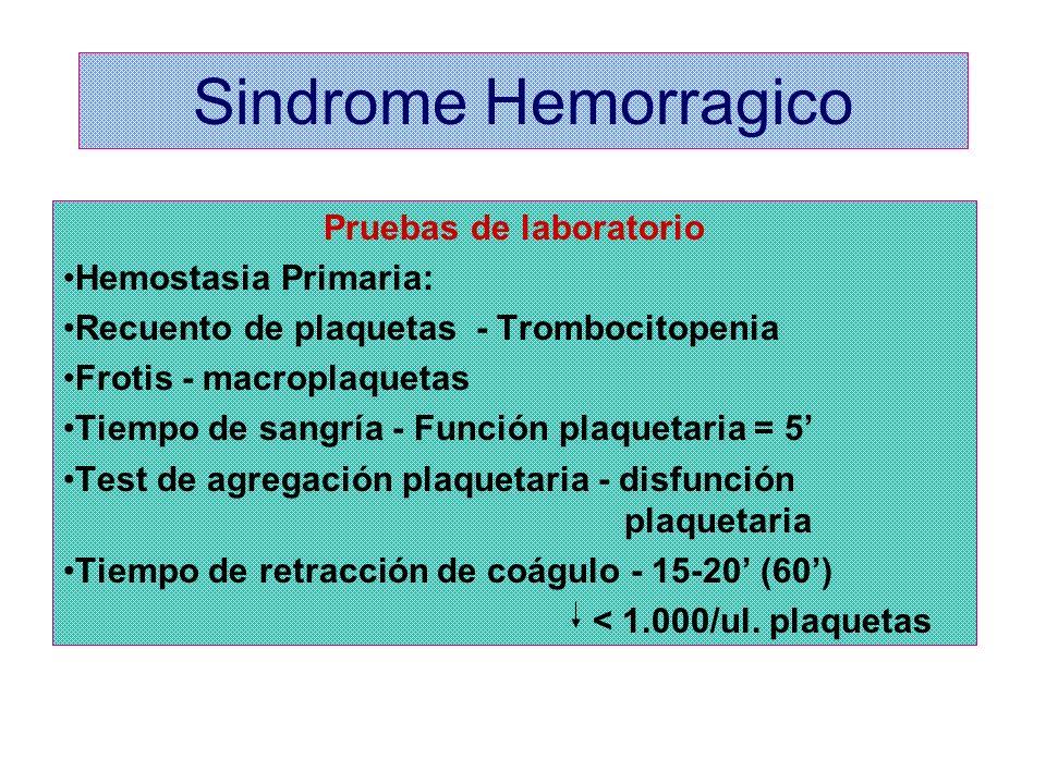 Sindrome Hemorragico Pruebas de laboratorio Hemostasia Primaria: Recuento de plaquetas - Trombocitopenia Frotis - macroplaquetas Tiempo de sangría - F