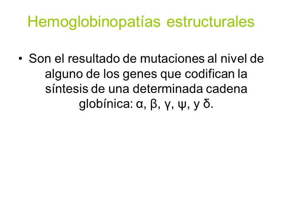 Hemoglobinopatías estructurales Son el resultado de mutaciones al nivel de alguno de los genes que codifican la síntesis de una determinada cadena glo