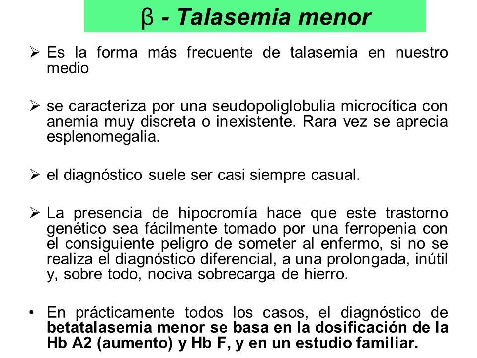 β - Talasemia menor Es la forma más frecuente de talasemia en nuestro medio se caracteriza por una seudopoliglobulia microcítica con anemia muy discre