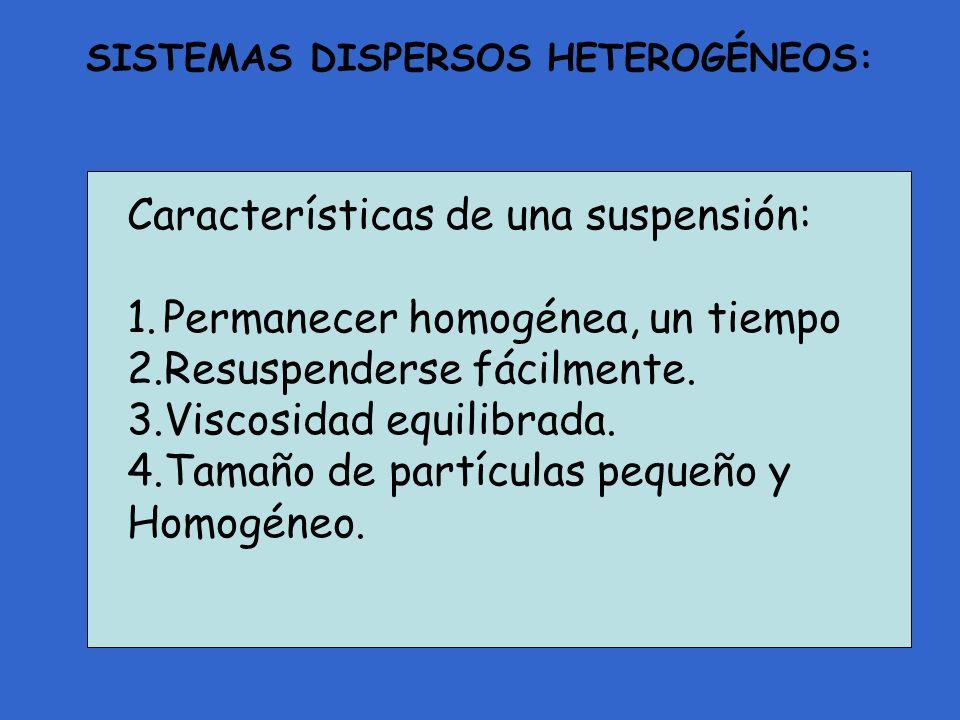 Características de una suspensión: 1.Permanecer homogénea, un tiempo 2.Resuspenderse fácilmente. 3.Viscosidad equilibrada. 4.Tamaño de partículas pequ