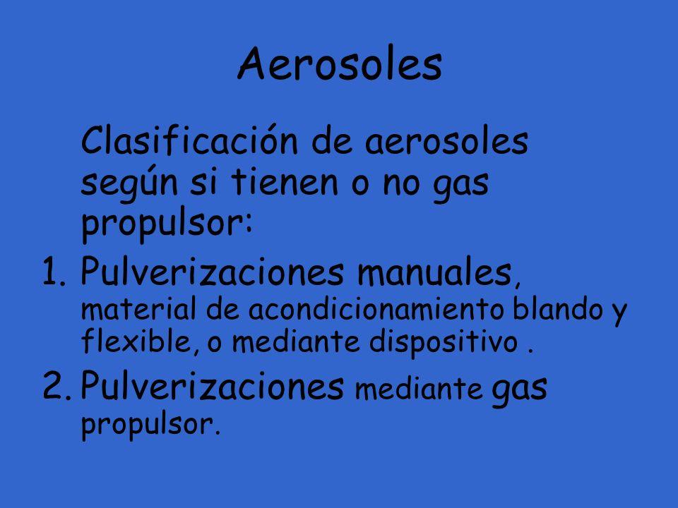 Aerosoles Clasificación de aerosoles según si tienen o no gas propulsor: 1.Pulverizaciones manuales, material de acondicionamiento blando y flexible,