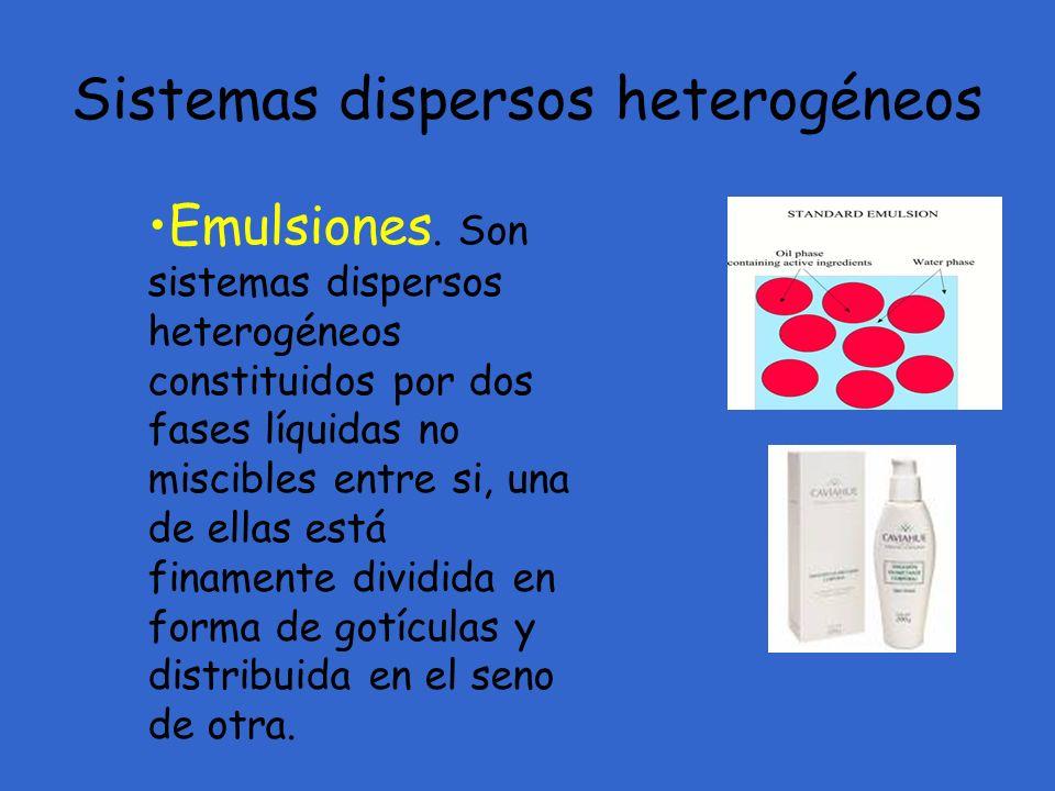 Emulsiones. Son sistemas dispersos heterogéneos constituidos por dos fases líquidas no miscibles entre si, una de ellas está finamente dividida en for