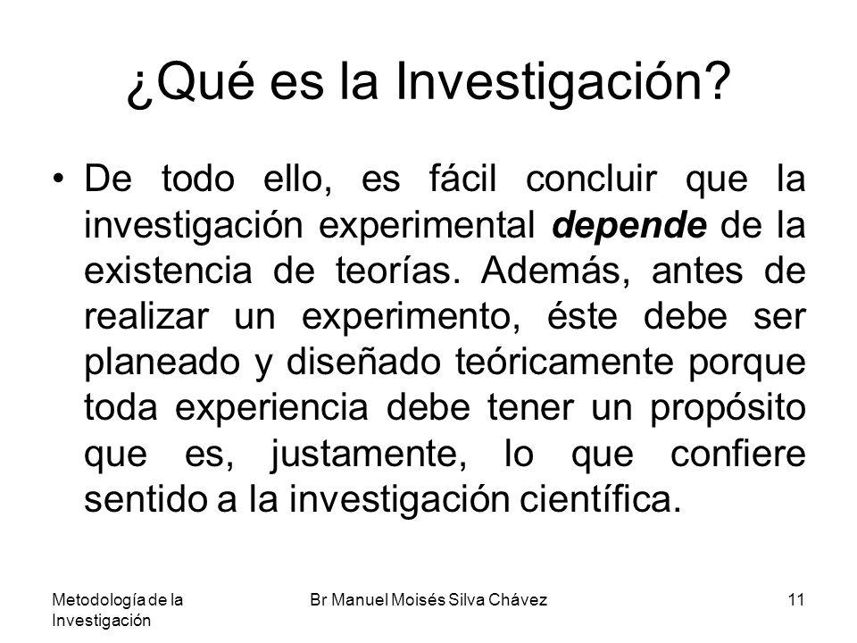 Metodología de la Investigación Br Manuel Moisés Silva Chávez11 ¿Qué es la Investigación? De todo ello, es fácil concluir que la investigación experim