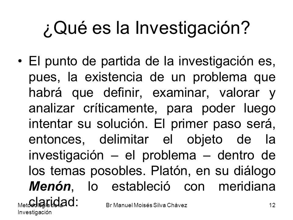 Metodología de la Investigación Br Manuel Moisés Silva Chávez12 ¿Qué es la Investigación? El punto de partida de la investigación es, pues, la existen