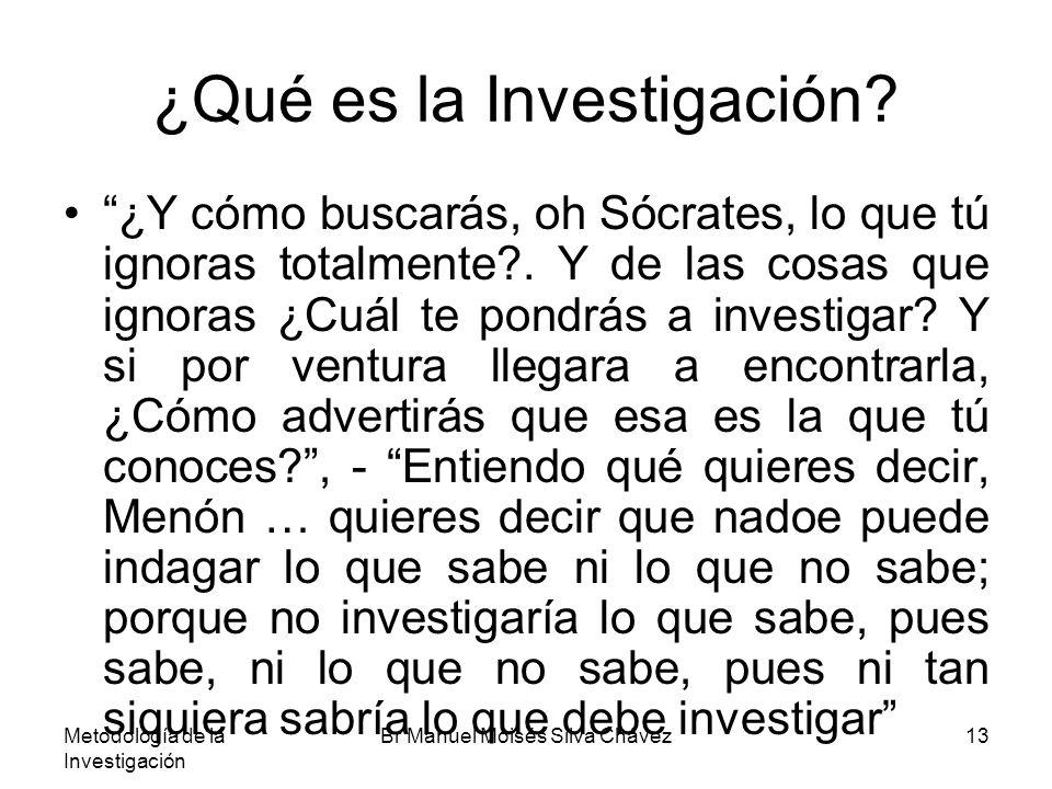 Metodología de la Investigación Br Manuel Moisés Silva Chávez13 ¿Qué es la Investigación? ¿Y cómo buscarás, oh Sócrates, lo que tú ignoras totalmente?