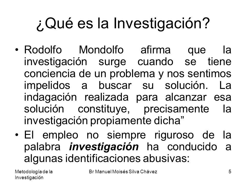 Metodología de la Investigación Br Manuel Moisés Silva Chávez5 ¿Qué es la Investigación? Rodolfo Mondolfo afirma que la investigación surge cuando se