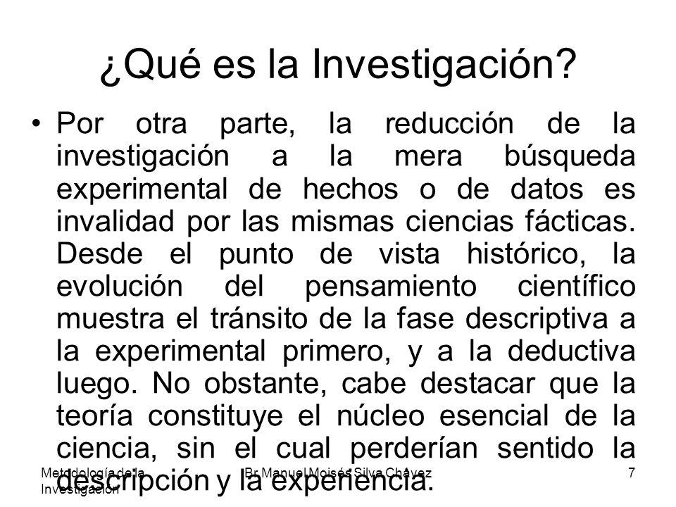 Metodología de la Investigación Br Manuel Moisés Silva Chávez7 ¿Qué es la Investigación? Por otra parte, la reducción de la investigación a la mera bú