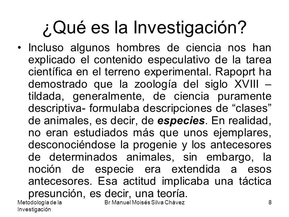 Metodología de la Investigación Br Manuel Moisés Silva Chávez8 ¿Qué es la Investigación? Incluso algunos hombres de ciencia nos han explicado el conte