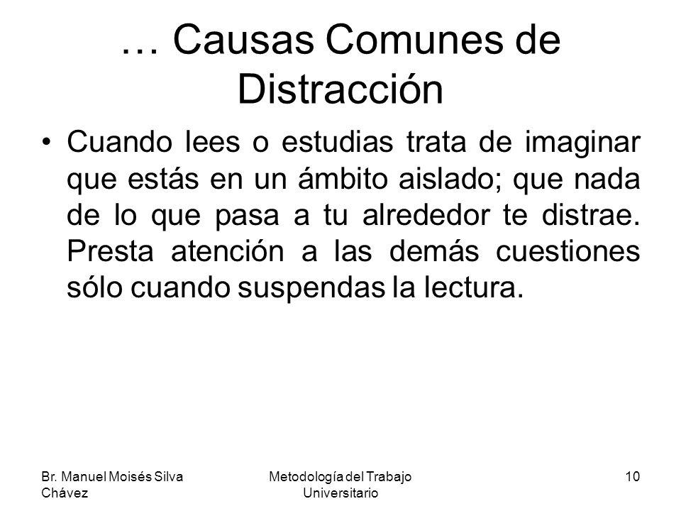 Br. Manuel Moisés Silva Chávez Metodología del Trabajo Universitario 10 … Causas Comunes de Distracción Cuando lees o estudias trata de imaginar que e