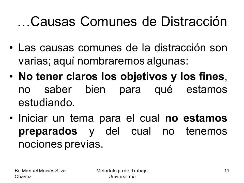 Br. Manuel Moisés Silva Chávez Metodología del Trabajo Universitario 11 …Causas Comunes de Distracción Las causas comunes de la distracción son varias