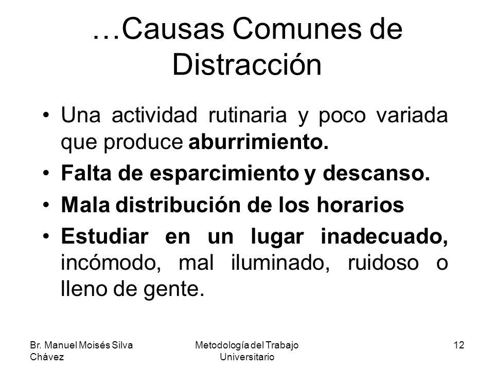 Br. Manuel Moisés Silva Chávez Metodología del Trabajo Universitario 12 …Causas Comunes de Distracción Una actividad rutinaria y poco variada que prod