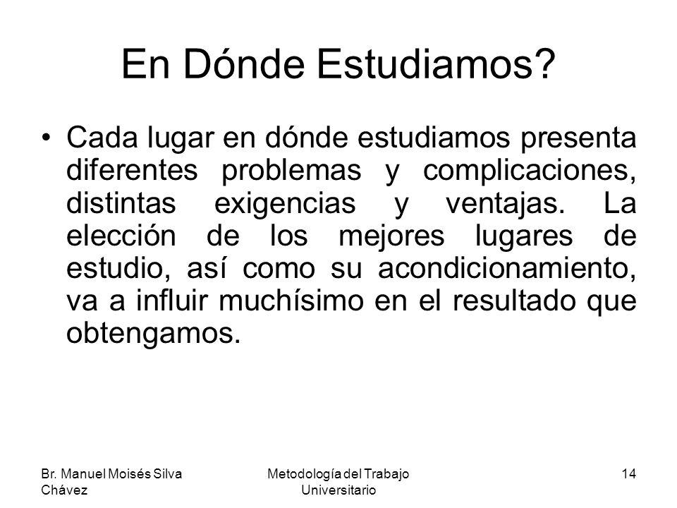 Br. Manuel Moisés Silva Chávez Metodología del Trabajo Universitario 14 En Dónde Estudiamos? Cada lugar en dónde estudiamos presenta diferentes proble