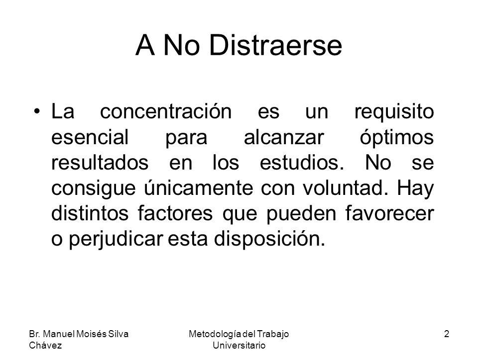 Br. Manuel Moisés Silva Chávez Metodología del Trabajo Universitario 2 A No Distraerse La concentración es un requisito esencial para alcanzar óptimos