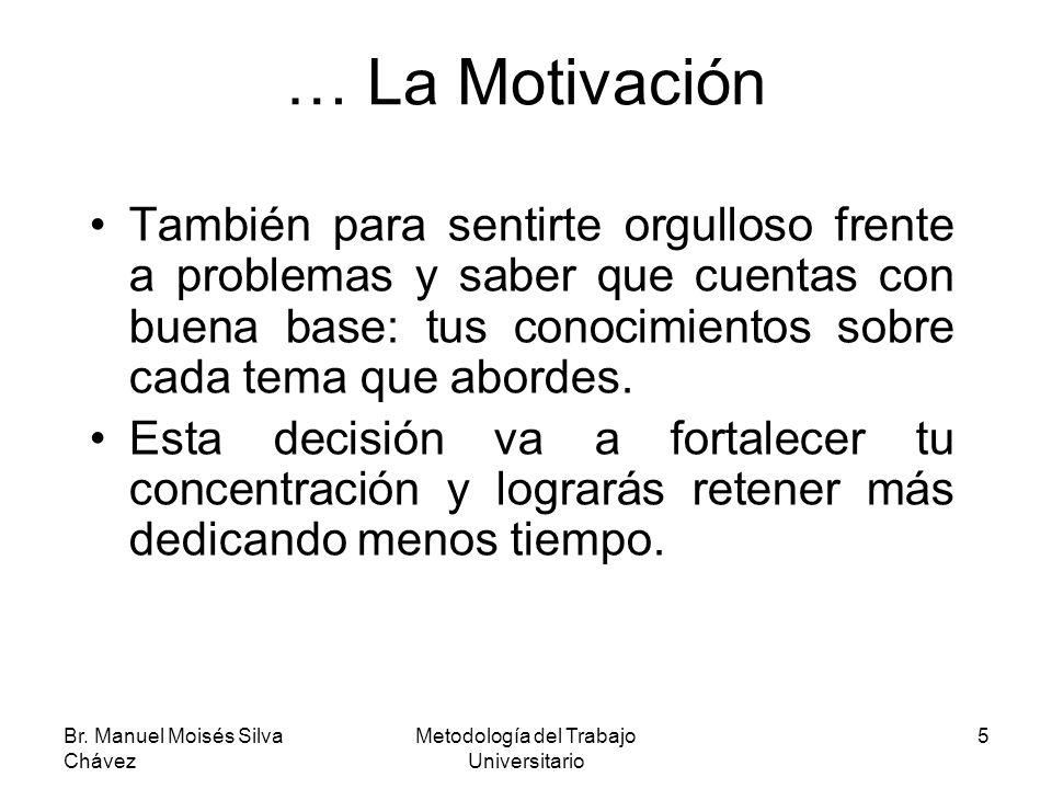 Br. Manuel Moisés Silva Chávez Metodología del Trabajo Universitario 5 … La Motivación También para sentirte orgulloso frente a problemas y saber que