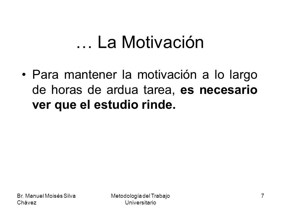 Br. Manuel Moisés Silva Chávez Metodología del Trabajo Universitario 7 … La Motivación Para mantener la motivación a lo largo de horas de ardua tarea,